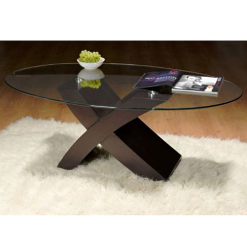 uber cool brown x design oval shape glass top coffee table