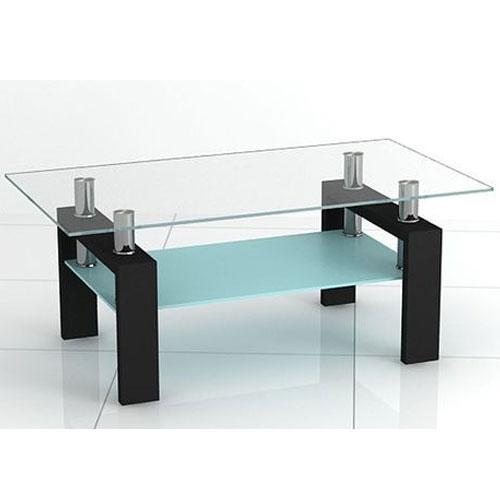 Corno Contemporary Rectangular Glass Coffee Table In Black Buy