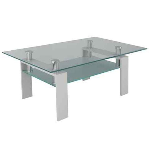 Corno contemporary rectangular glass coffee table in white for Buy cheap coffee table online