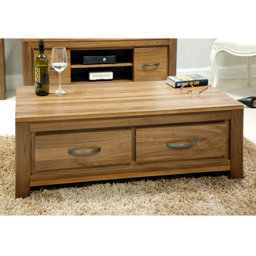 Dallas Dark Polished Walnut Wooden Coffee Table With Drawers