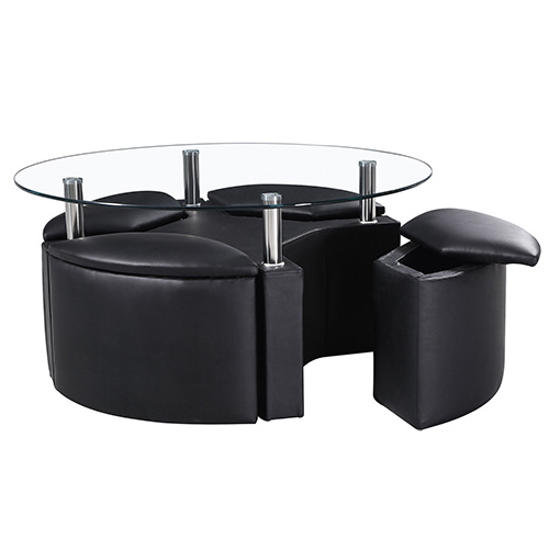Luxury Faux Leather Coffee Table With Four Storage Stools In Chrome Buy Coffee Tables Online Discount Coffee Tables Uk