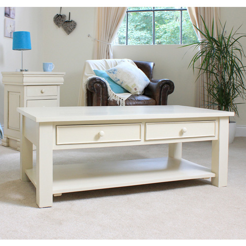 New Jersey Mahogany Coffee Table With Vintage Cream Finish Buy Coffee Tables Online Discount
