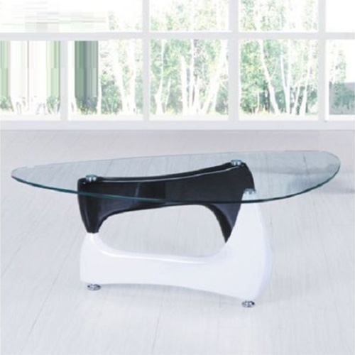 Modern Organic Curved Clear Glass Coffee Table