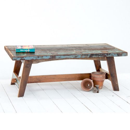 Nautical Rustic Colorado Reclaimed Dark Wood Coffee Table