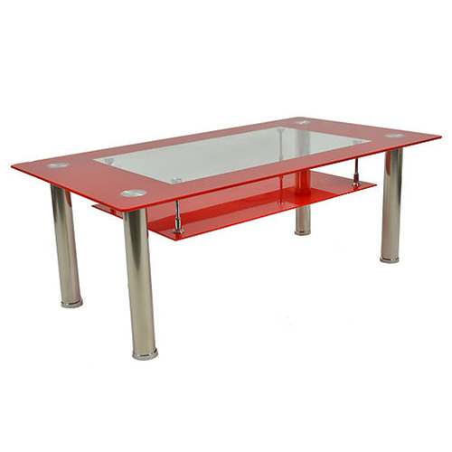 Red Toughened Glass Angular Coffee Table With Chrome Legs Buy Coffee Tables Online Discount