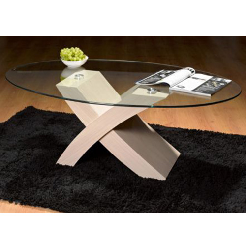 Stylish White X Design Oval Clear Glass Top Coffee Table Buy