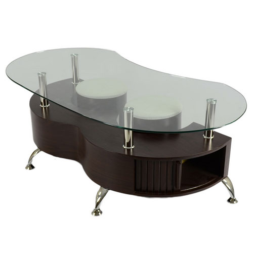 palermo contemporary glass coffee table in brown