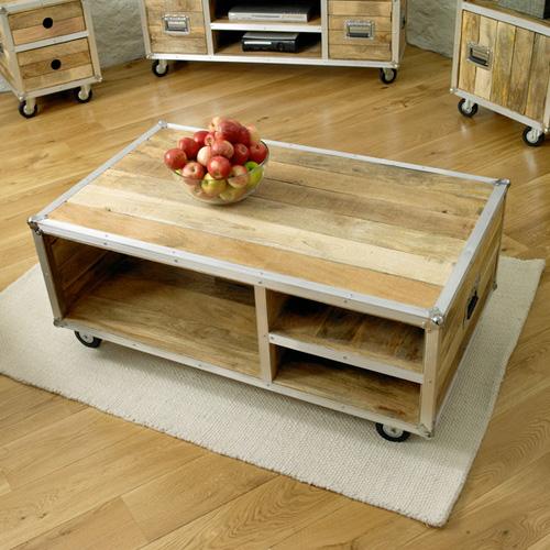 urban atlanta wooden coffee table with wheels
